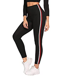 Fitg18® Girls/Women/Ladies Stylish/Hot Shimmer Black legging with side striped track pant/jogger/Tights for gym/work out/casual & party (Size 26 inch to 36 inch) (black, Free Size)