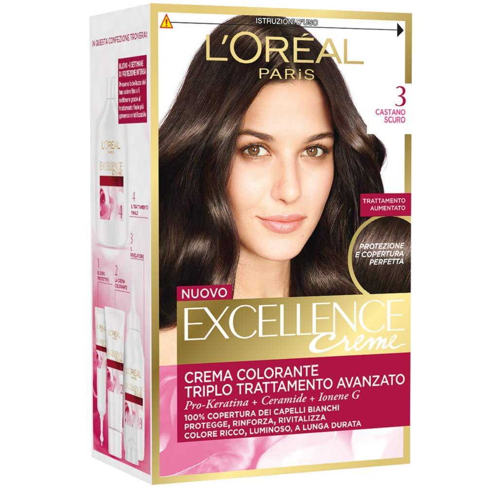 L'Oréal Paris Excellence Crema Colorante Triplo Trattamento Avanzato, 4.54 Castano Mogano Ramato A1492228 EXC00015