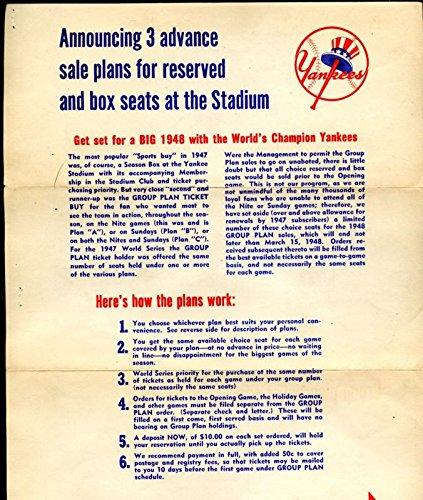 - 1948 New York Yankees Baseball Season Ticket Order Form