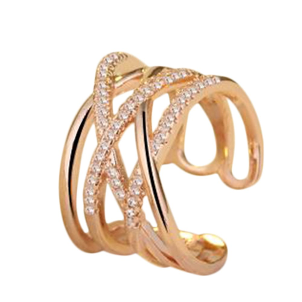 Outflower Gold Plated Ring Simulated Diamond Cross Paved Rose Gold Plated Party Rings Hollow rings Rhinestone Joint Knuckle Ring for Women girls