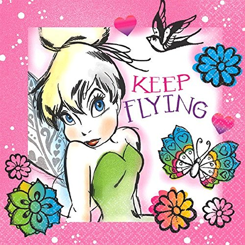 Disney Tinker Bell - Keep Flying Beverage Napkins Birthday Party Tableware Supply (16 Pack), Multi Color, 5