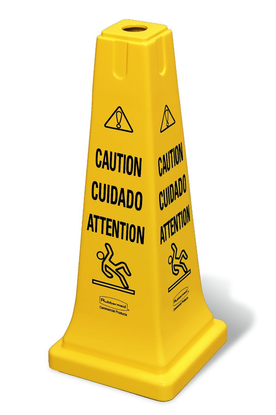 Rubbermaid Commercial Multi-Lingual Safety Cone with ''Caution'' Imprint, 25-3/4-Inch, Yellow