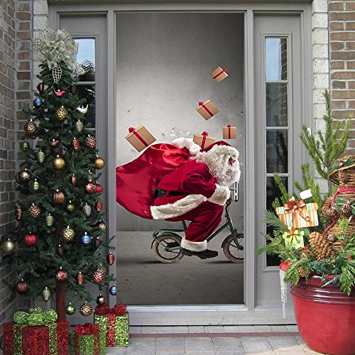 Creative Personality Background Mural Creative simulation 3D Three-dimensional Door stickers waterproof decoration Santa Claus Wall Sticker Removable ()