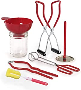KAISHANE Canning Kit 6 Pieces Home Canning Set Include Plastic Canning Funnel, Jar Lifter, Jar Wrench, Lid Lifter, Tongs, Cleaning Brush for Canning Jars Mason Jars to Make Jam