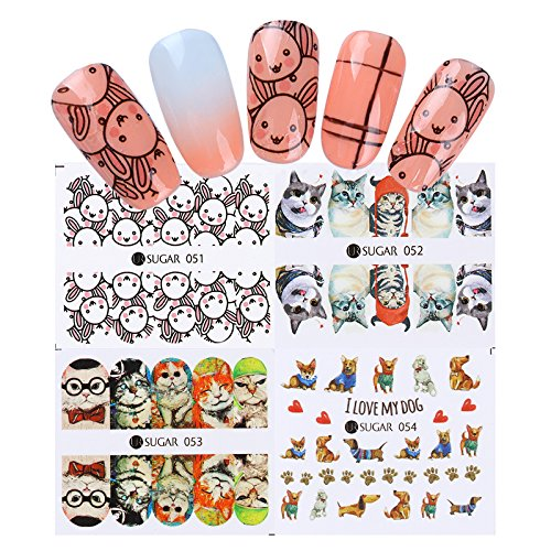 BORN PRETTY 40 Sheets Nail Art Water Decals Rose Flower Leaf Gradient Marble Flamingo Cute Animals Manicure Transfer Sticker