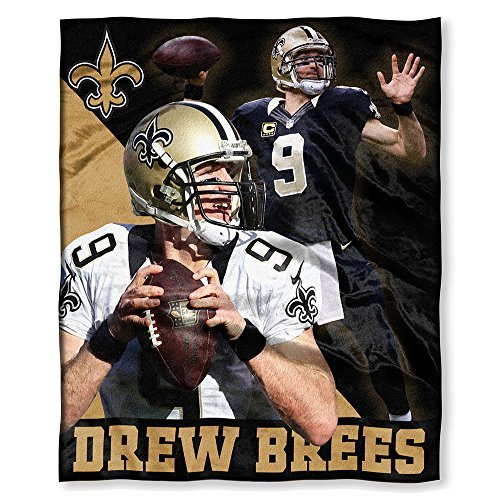 The Northwest Company 575 New Orleans Saints NFL Drew Brees Silk Touch Throw (50in x 60in), 50