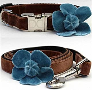 "product image for Diva-Dog 'Camellia Velvet Blue' Custom Small Dog 5/8"" Wide Dog Collar with Plain or Engraved Buckle, Matching Leash Available - Teacup, XS/S"