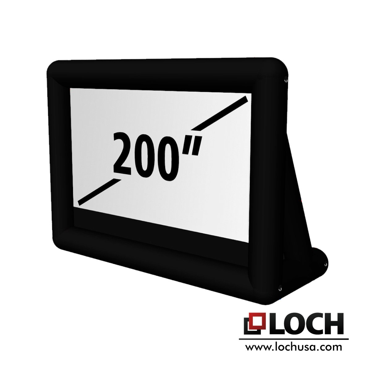Loch IWS200 - 24 Foot Diagonal Total (View Area 200'' Diagonal Rear and Front 16:9) Inflatable Projection Screen - Outdoor Movies Cinema - Include Blower,Bag, Ropes, Stakes
