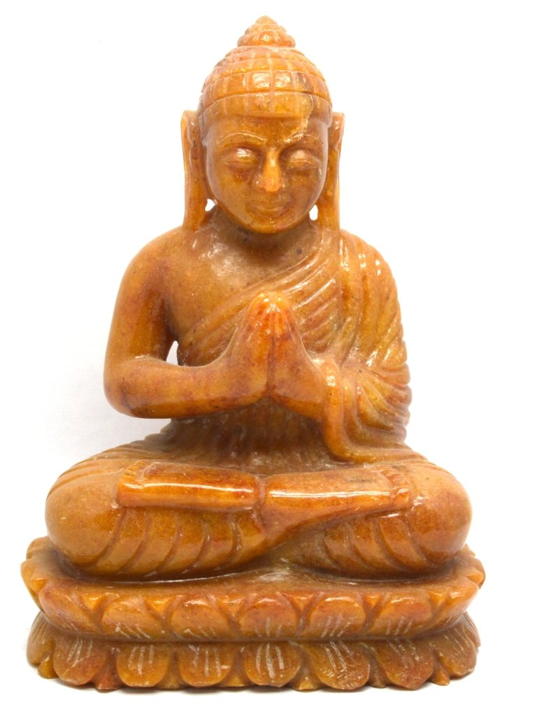 Healing Crystals India: Natural Gemstone Statue Yellow Jasper Carved Buddha Spiritual Sculpture (6.5''x 5.0''x 2.5'' inch)