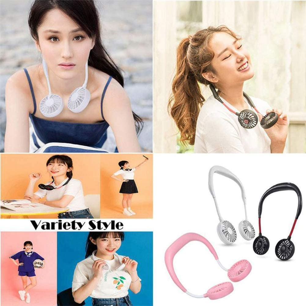 HBOS Mini Handheld Fan Portable Personal Desk Aromatherapy Table Sport Wearable Neckband USB Rechargeable Fan with Led Lamp 3 Speed Adjustable Headphone Design for Home Travel Classroom Library