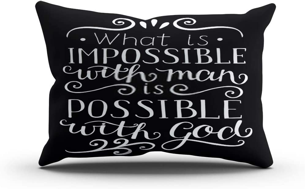 Subently Throw Pillow Cover Decorative Hand What is Impossible Man Possible God Made Black Scripture 12x20 Inch Pillow Case Home Car Sofa Office Meeting Room Decor Cushion Pillowcase