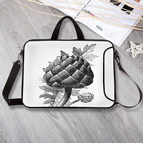 (Artichoke Lightweight Neoprene Laptop Bag,Black and White Artichoke Bud Drawn by Hand Sketch Food Grocery Art Print Laptop Bag for Laptop Tablet PC,12.6