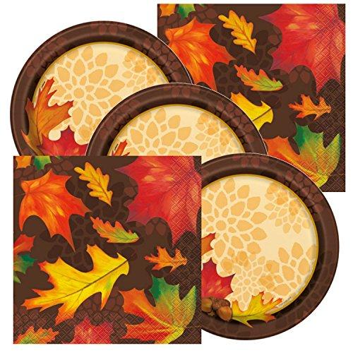 Fall Leaves Theme Plates and Napkins Serves 16 (Fall Plates)
