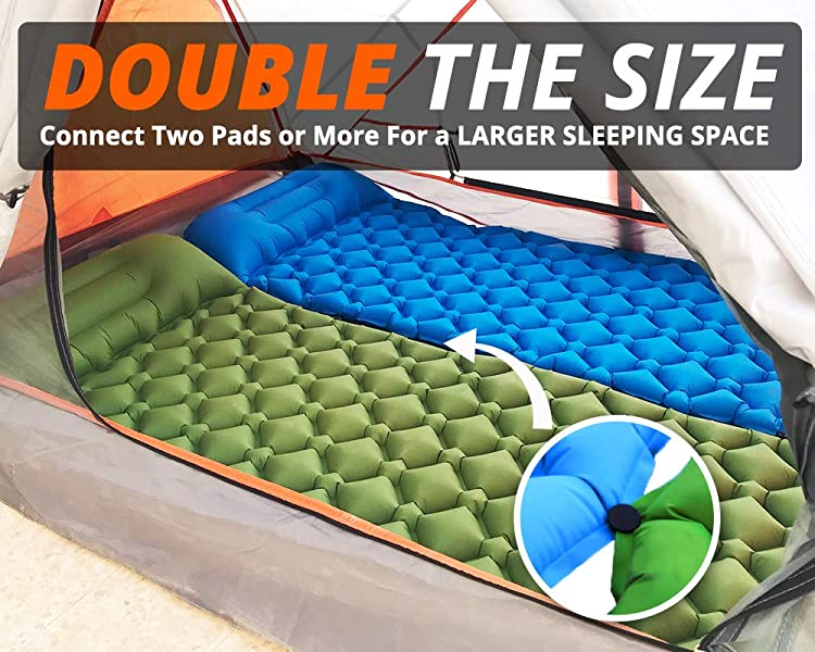 Inflatable Backpacking Camping Sleeping Pad Mat - Lightweight Air Mattress with Snap-On to Double The Size