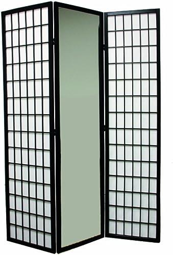 Ore International 3-Panel Black Finish Mirror Room Divider