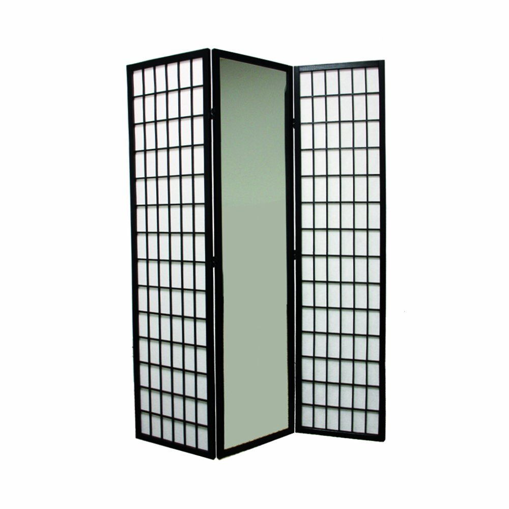 Amazon.com: Ore International 3-Panel Black Finish Mirror Room ...