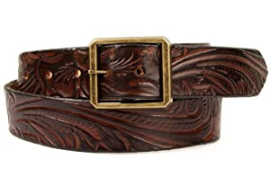 Marakesh Leather Men's Handmade Western Bloom Leather Belt