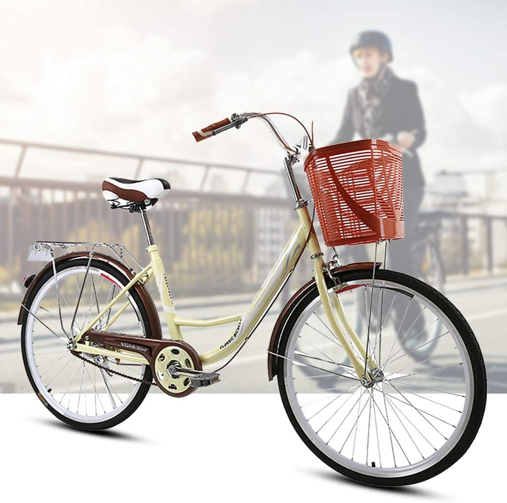 【US Spot】 Womens Beach Cruiser Bike-24 Inch Unisex Classic Iron Bicycle with Basket Retro Bicycle Unique Art Deco Scooter,Road Bike,Seaside Travel Bicycle,Single Speed, 24-inch Wheels