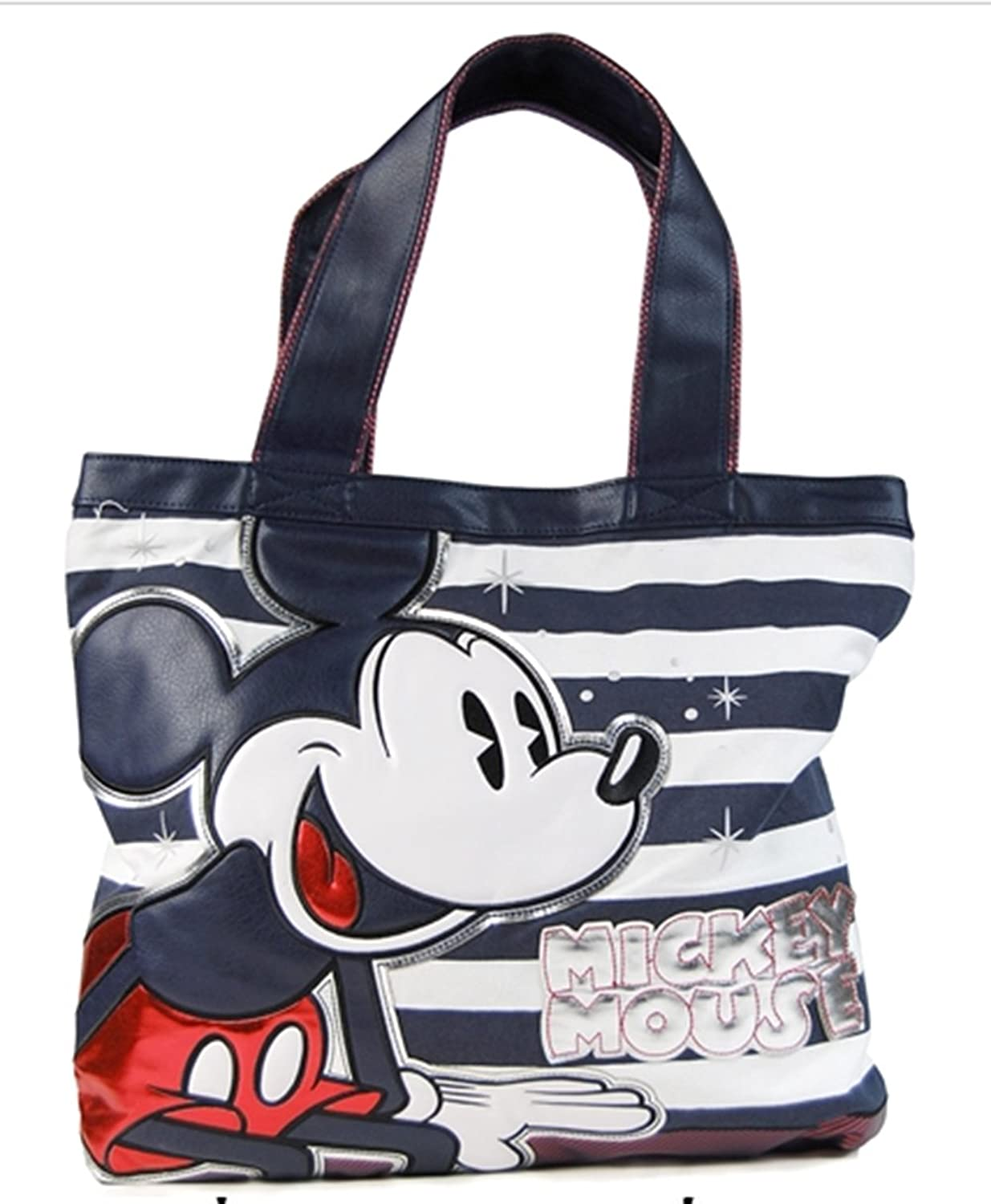 Loungefly Mickey Mouse Navy Striped Tote Bag