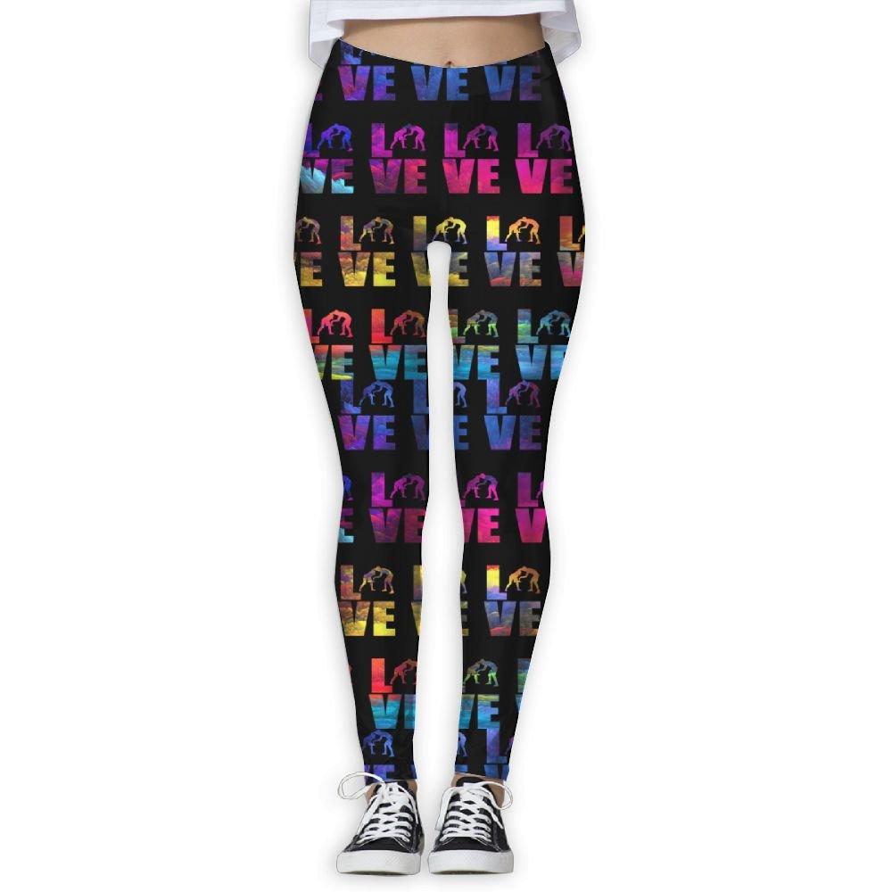WomensPowerYogaPants Love Wrestling Ladies Yoga Pants Fitness Power Flex Leggings Digital Printed