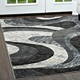 Home Dynamix Catalina Huron Area Rug | Contemporary Living Room Rug | Bold Swirl Designs | Monochromatic Colors | Gray 3'3″ x5'2 Review