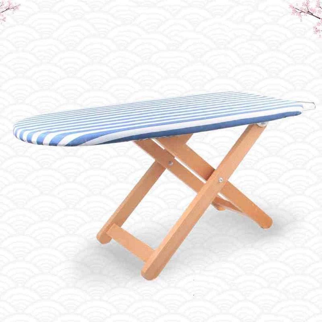 DLT 80cmx40cmx37cm Madera Maciza Tabla de Planchar Plegable, Marco All-Plancha y Tabla 4 Pierna de Madera, for Trabajo Pesado de Hierro y Tabla de Planchar Pad (Color : Blue and White Stripes)