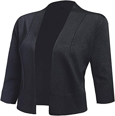 AAMILIFE Women's 3/4 Sleeve Cropped Cardigans Sweaters Jackets Open Front  Short Shrugs for Dresses at Amazon Women's Clothing store