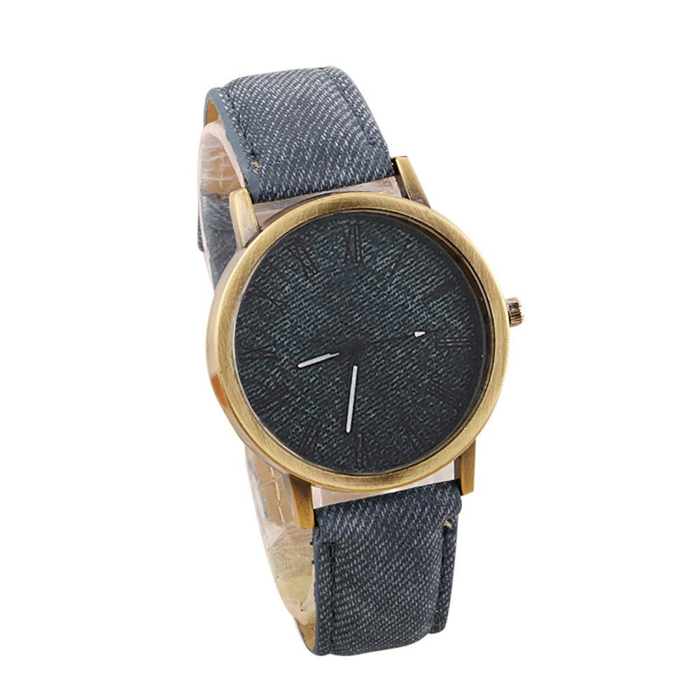 WoCoo Watch,Luxury Quartz Canvas Printed dial Retro Solid Leather Band for Lovers(Coffee)