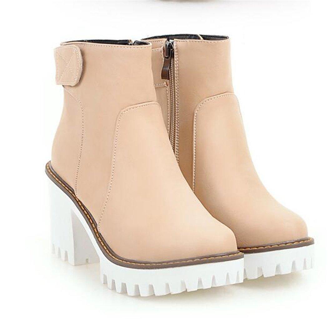 ZQ@QXHerbst Kopf und Winter runden Kopf ZQ@QXHerbst wasserdicht Taiwan dick mit elegant und vielseitig, blanke Stiefel eine grosse Anzahl von weiblichen Stiefel  Beige 8df242