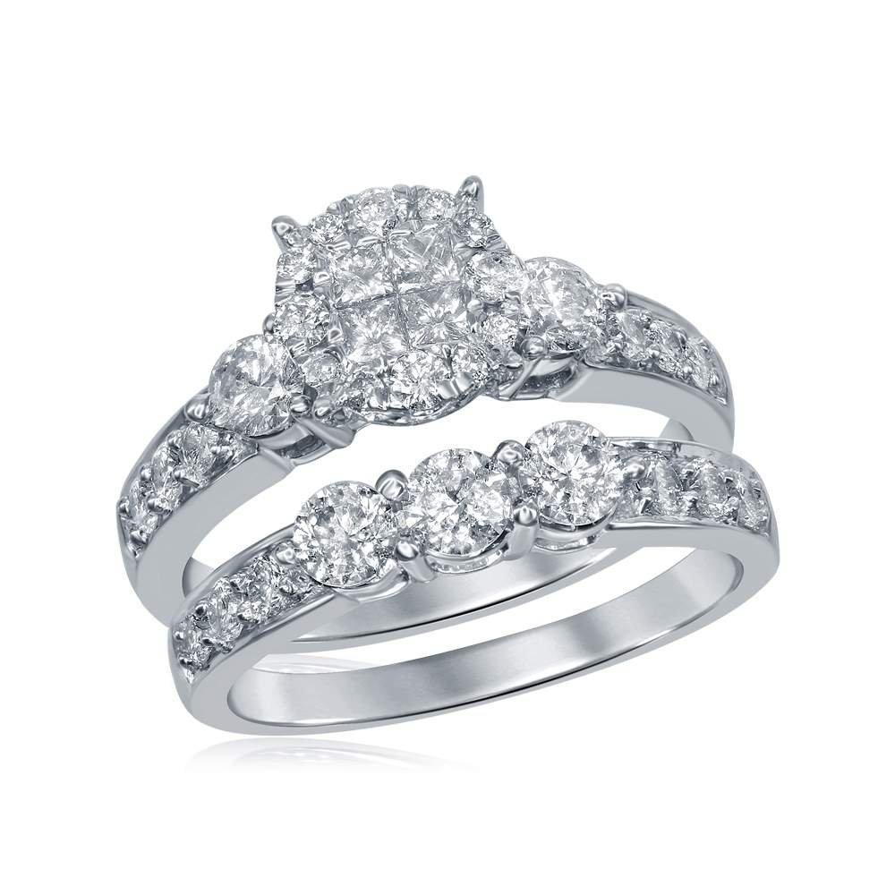 Amazon.com: 14 kt oro blanco Womens Princesa diamantes ...