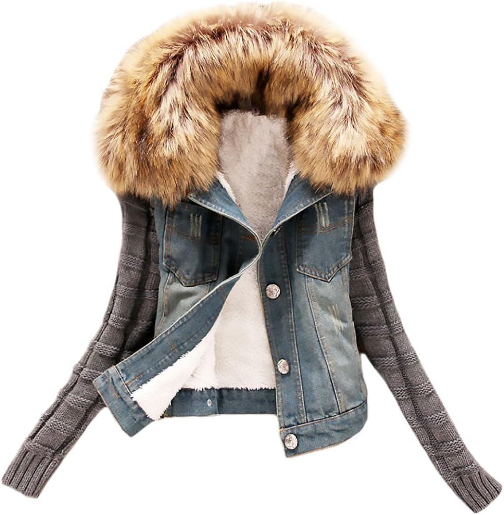 Abrigos Mujer Chaquetas Punto Invierno Corto Jacket De Mezclilla Pelo Abrigo De Denim Tallas Grandes Elegantes Vaqueras Jackets De Lana Cuello Más Grueso Splice Juvenil Casual Jersey