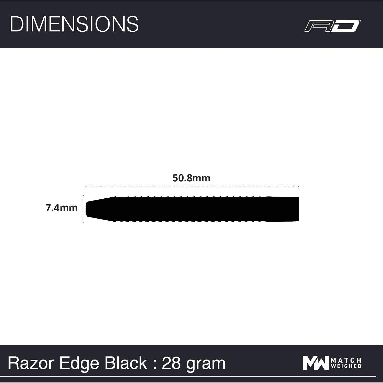 24g Razor Edge Schwarz 22g 26g oder 28g Tungsten Darts Set mit Flights und Sch/äfte