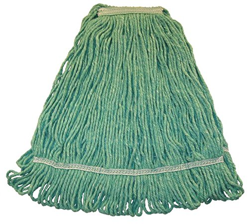 Wilen A01513, Hospital Pro M Antimicrobial Wet Mop, Large, 1-1/4'' Tape Band, Green (Case of 12)
