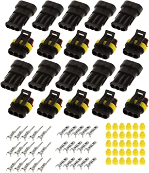 ZYTC 10 Kits 3 Pin Way Waterproof Electrical Connector Plug 1.5mm Series Terminals