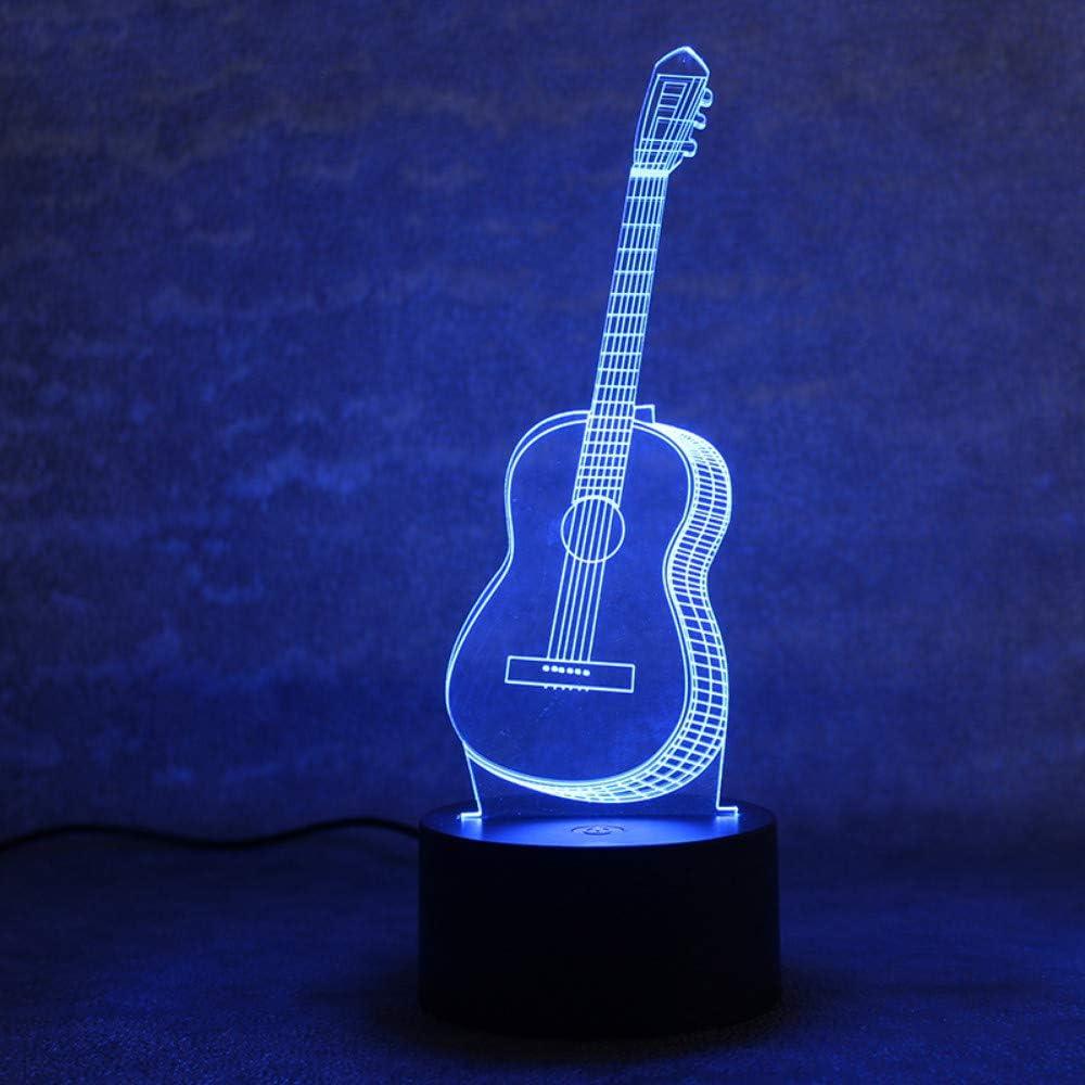 Qaq Starry SkyLámpara De Mesa Visual 3D Led Colorido Cambiante Novedad Dormitorio Noche De Noche Música Ligera Seis Cuerdas Guitarra Lámpara Decoración Para El Hogar