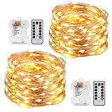 Kohree String Lights Christmas Lights Copper Wire Fairy Lights Remote Control Timer Battery Operated Waterproof 100 LED 33FT Firefly Lights for Bedroom Wedding Festival Décor 2 Packs