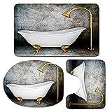 3 Piece Bath Mat Rug Set,Retro,Bathroom Non-Slip Floor Mat,Vintage-Bathtub-in-Room-With-Grunge-Wall-Lifestyle-Resting-Spa-Theme-Art-Print,Pedestal Rug + Lid Toilet Cover + Bath Mat,Grey-White-Gold