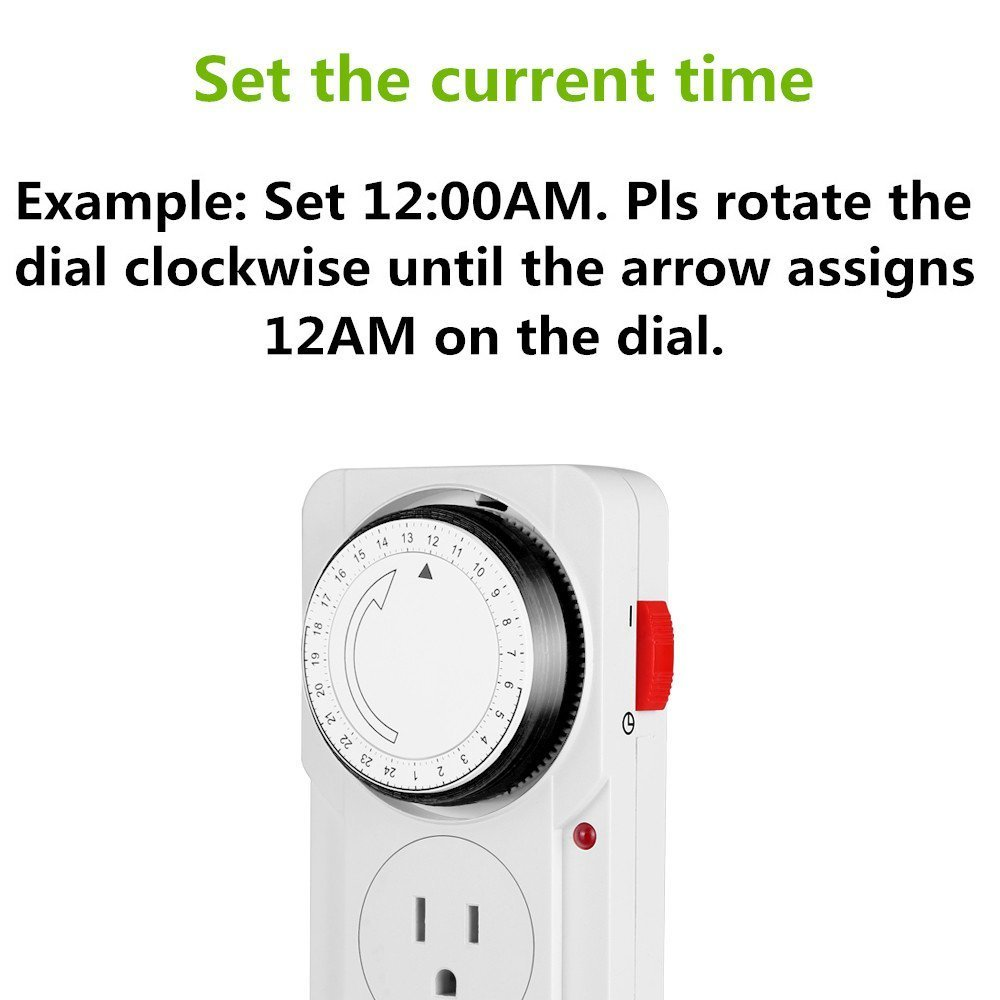 Wsdcam 24 Hour Plug-in Mechanical Light Timer for Electrical Outlets 3 Prong