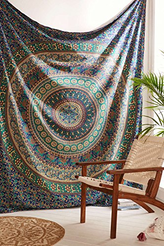 Indian Elephant Tapestry Wall Hanging, Bohemian Mandala Bedding Double, Hippie Dorm Room Decorations, Boho Decor, Cotton Fabric Beach Blanket, Hippy Picnic Throw, Urban Wall Tapestries by Trade Star Exports