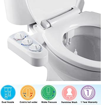 Non Electric Bidet For Toilet Self Cleaning Dual Nozzle Bidet Attachment Hot And Cold Water Spray Bidet Mechanical Water Toilet Bidet Sprayer Kit With Pressure Temperature Control Easy To Install