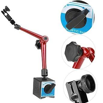 Red Flexible Digital Dial Test Indicator Gauge Magnetic Base Stand Holder L