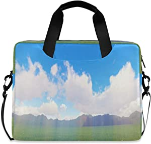 Green Landscape Field Vector Laptop Case 15.6 Inch Carrying Protectiv Case with Strap