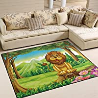 Naanle Animal Area Rug 5x7, Smiling King Lion in Forest Polyester Area Rug Mat for Living Dining Dorm Room Bedroom Home Decorative