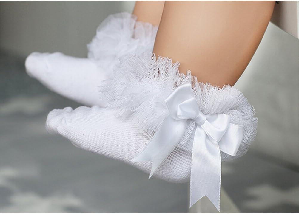 YeahiBaby con pizzo Calzini corti da bambina motivo: principessa colore: bianco bianco bianco S in cotone
