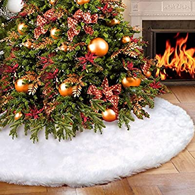 AMADE Christmas Tree Skirts White Luxury Faux Fur Tree Ornaments Plush XmasTree Skirt for Christmas Decoration Year Party Holiday Decorations Pet Favors