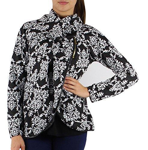 GG Mesdames Femmes italienne Lagenlook Quirky couche postal collier manches longues Cocoon Manteau Veste Poncho Cap Noir-fleur
