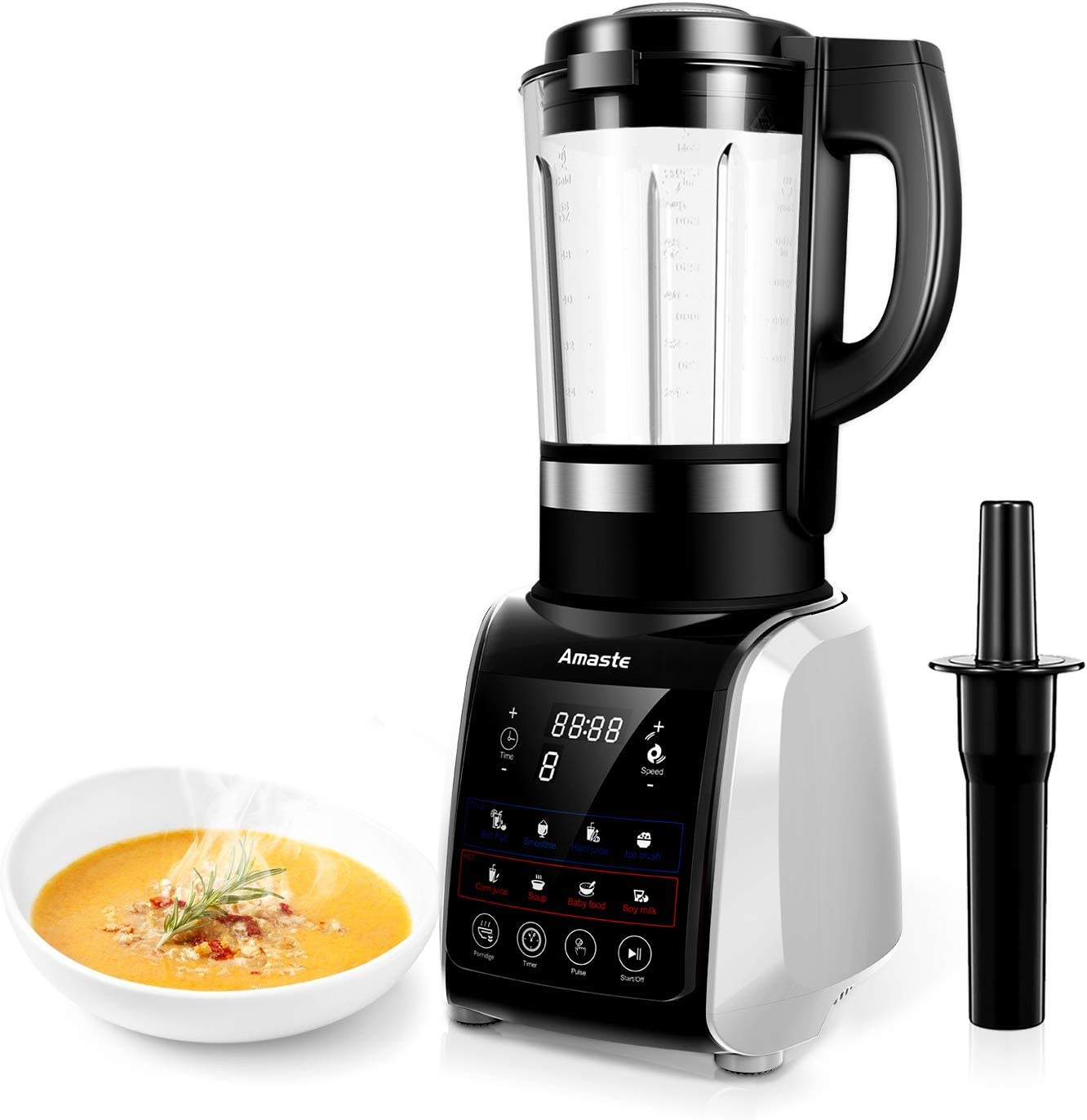 Blender for Kitchen- 1200W Blender for shakes and smoothies,64 oz Glass Blender with 9 Pre-Programmed Settings, Countertop Blenders, Cold & Heat Function with Timer, MR-01 SLIVER