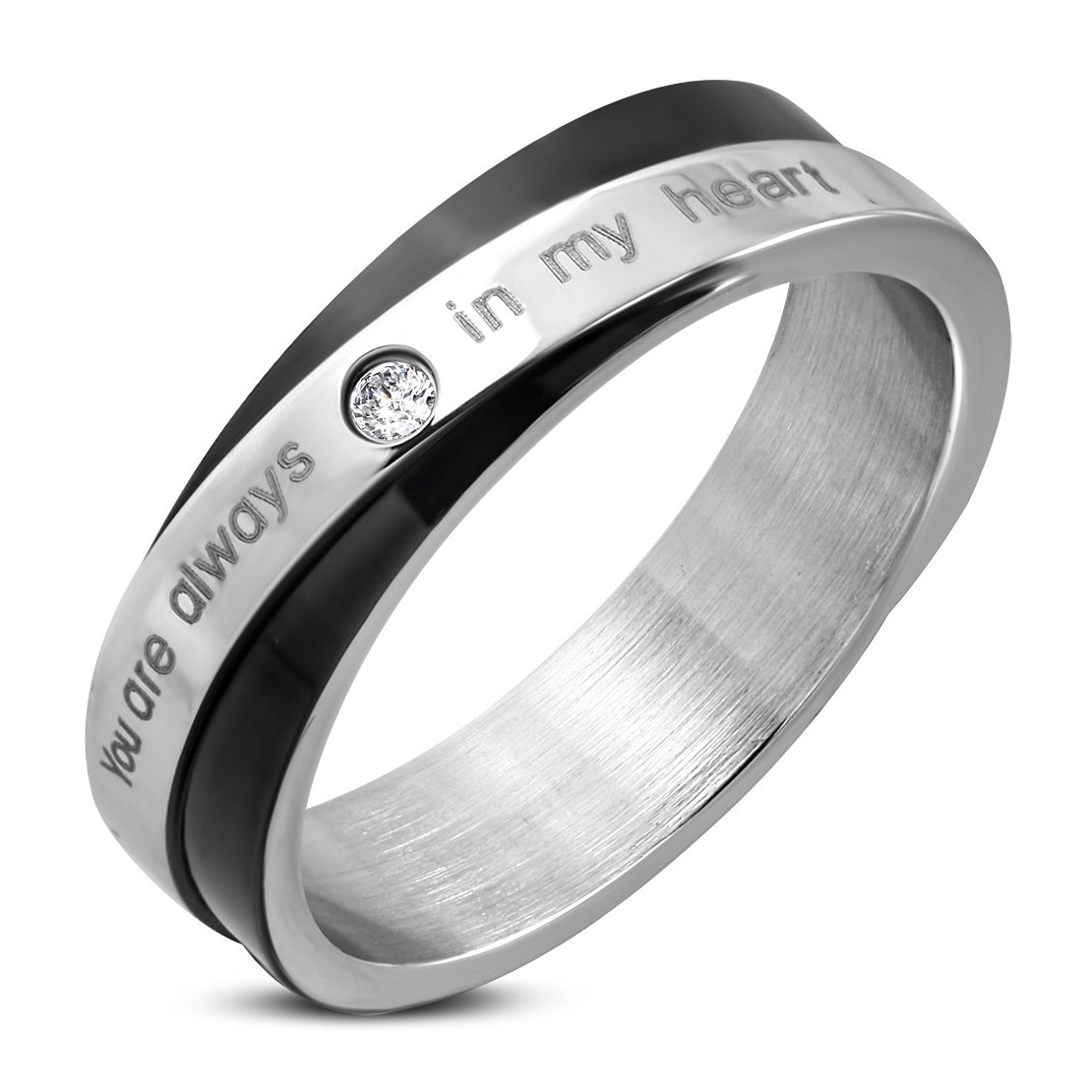 Stainless Steel 2 Color Affirmation-Love Wedding Band Ring with Clear CZ