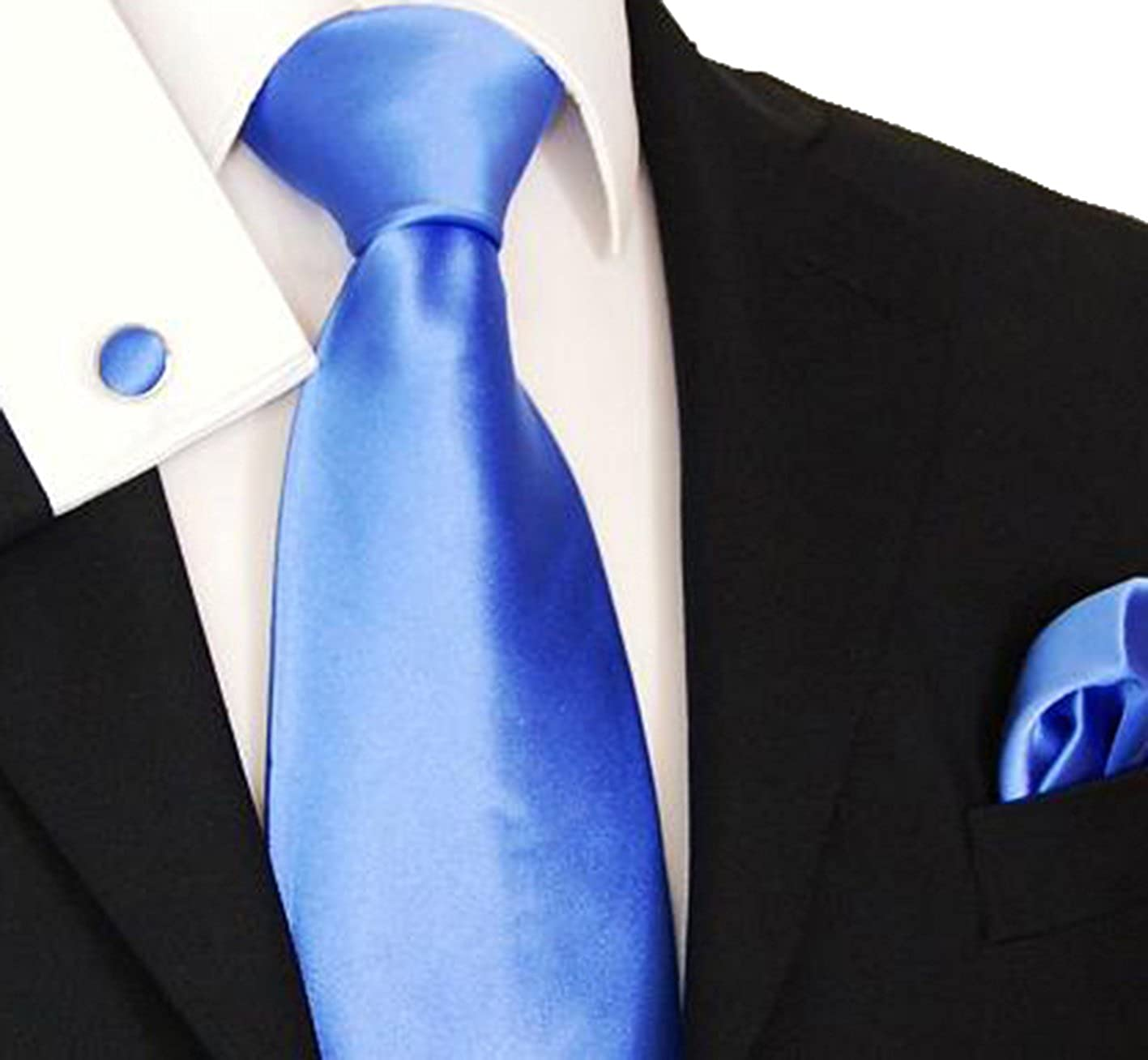 Paul Malone Extra Long Silk Necktie Pocket Square and Cufflinks Blue