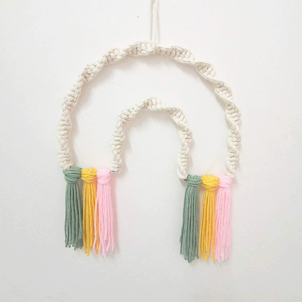 MAFELOE Hand-Knitted Room Home Decoration, Woven Wall Hanging Wall Home/Room Art Décor, Chic Tassels Pendant Wall Art Bedroom Living Room Dorm Backdrop Home Decorations - Colorful Tassel Design